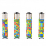 Briquet Clipper Pop Art Leaf X 4