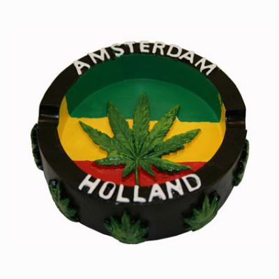 Cendrier Résine Amsterdam Rasta Leaf