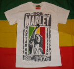 T-shirt Bob Marley Fist 1976 Blanc