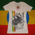 Bob Marley Lively Up Yourself Blanc Col V Femme