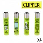 Briquet Clipper Think Green X 4