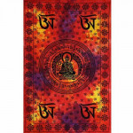 Tenture Tibetan Bouddha Orange Multi 140 x 210 cm